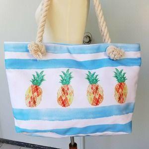 Pineapple Canvas Beach Bag Rope Handles Zipper